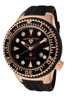 Here is the Swiss Legend Neptune Black Dial Gold Tone Black Rubber for men. This is a very stylish watch at a great price from Swiss Legend! Stylish Watches, Casual Watches, Watches For Men, Skeleton Watches, Rubber Watches, Seiko, Bulova, Black Rubber, Casio Watch
