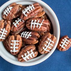 Chocolate Pecan Footballs, a delicious and really cute snack to enjoy while you're watching the big game!