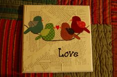 book pages with love birds on a line all mod podged