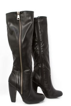 """SALE ITEMS ARE FINAL SALE MAY NOT BE RETURNED OR EXCHANGED. Classic knee high faux leather boot with metallic side zipper detail. - 3"""" Heel. - Fits true to size."""