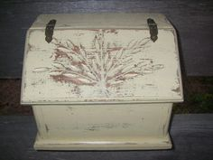Yellow Wood Storage Box Wheat Wood Farmhouse by ABackyardCreation