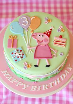 butter hearts sugar: Pastel Peppa Pig Cake Pitch a birthday celebration that is definitely straightforward, Bolo Da Peppa Pig, Peppa Pig Birthday Cake, Peppa Pig Cakes, Birthday Kids, Happy Birthday, Fondant Cakes, Cupcake Cakes, Buttercream Cake, Pig Party