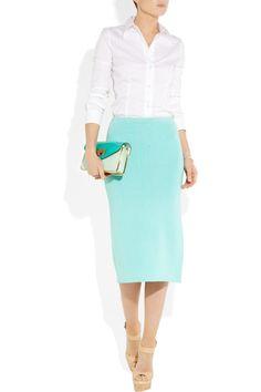 Ralph Lauren - aqua silk-blend pencil skirt & crisp white shirt  2012