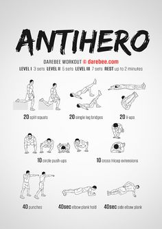 Work hard, workout even harder and be ready for anything. The Antihero workout is it. Neila Rey Workout, Calisthenics Workout, Gym Workout Tips, At Home Workouts, Boxing Workout, Workout Plans, Muscle Fitness, Fitness Tips, Health Fitness