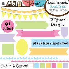 Basic Page Elements Clip Art Set! Frames, Badges, Banners, & Page Dividers in 6 Pastel Colors + Blacklines! $