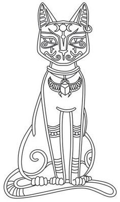 Bast Egyptian mythology coloring page Ancient History Social Studies Culture cat
