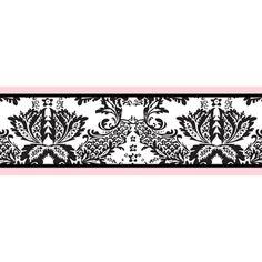 $17 Sweet JoJo Designs Pink and Black Sophia Wallpaper Border Decal | Overstock.com