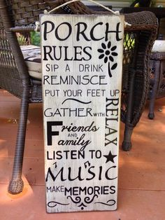 Hand lettered wood signs made just for you. by TheVintageHammer Wood Signs Sayings, Sign Quotes, Wooden Signs, Patio Signs, Outdoor Signs, Outdoor Decor, Outdoor Rooms, Outdoor Ideas, Porch Rules Sign