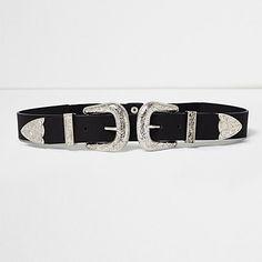 Black large double buckle Western belt € 22,00