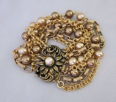Repurposed Multi Chain, Pearl Bracelet - One of a Kind Vintage Jewelry from JryenDesigns
