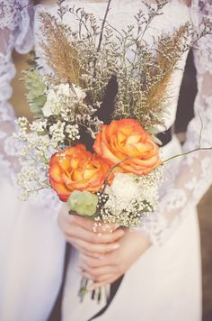 Fall Wedding Bouquet Ideas: Keep your bouquet simple by using a select few flowers. You can pad it with baby's breath and add roses for traditional elegance. Fall Bouquets, Fall Wedding Bouquets, Fall Wedding Flowers, Orange Wedding, Fall Flowers, Bridal Bouquets, Tangerine Wedding, Yellow Bouquets, Month Flowers