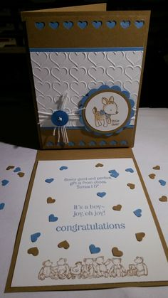 Another fun to make card, to welcome a new baby-boy from a young couple at my church. Using all Stampin' UP! cardstocks & products. Lovely isn't it?