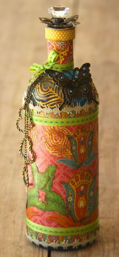 This upcycled Bohemian Bazaar bottle by Rebecca Morris is amazing! #Graphic45 #alteredart #upcycling