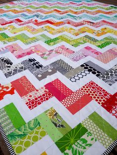 Who needs a pattern for a quilt this easy?  Anyway, the pictures show how to use rectangles to make chevrons!  Neat.