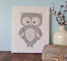 Burlap Owl Woodland animals sign - 8X10 inch Gray Owl sign, Owl wall decor, Rustic sign, Woodland nursery decor, Owl sign, Owl nursery art by Instinct2create on Etsy