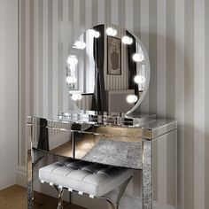 Nice 10 Beautiful Dressing Table Design Idea For A Limited Space In Your Home The presence of a dressing table in the room becomes one of the important elements because every morning you will spend time getting ready to go on va. Dressing Table Design, Dressing Table Mirror, Dressing Room, Mirror With Light Bulbs, Hollywood Vanity Mirror, Round Mirrors, Bedroom Decor, Interior Design, Furniture