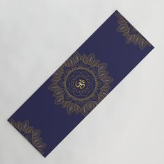 Om Symbol and Mandala in Spiritual Gold Purple Blue Violet Yoga Mat by PELA - x Ohm Symbol, Travel Yoga Mat, Yoga Mats, Studio S, Latex Free, Purple Gold, Heavy Metal, Metals, Turning