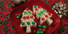 Tree Treats™ Trimmed with M&M's® Recipe   Kellogg's® Rice Krispies® (add about 1/4 t green food coloring for green trees)