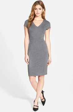 Halogen®+Seamed+V-Neck+Ponte+Sheath+Dress+(Regular+&+Petite)+available+at+#Nordstrom
