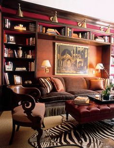 Home Library - Office Space - Interior Design; Lavish home library interior designs that will inspire thought-provoking office spaces. Home Library Decor, Home Library Design, Home Libraries, House Design, Home Decor, Cozy Library, Library Ideas, Library Wall, Library Shelves
