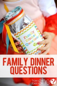 DIY Family Dinner Questions! Encourage family time conversations. Choose one a night and have everyone answer it! You'll learn more than you'd even imagine...have some good laughs too! Free printables with all the questions here!