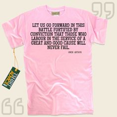 Let us go forward in this battle fortified by conviction that those who labour in the service of a great and good cause will never fail.-Owen Arthur This  quotation tee  won't ever go out of style. We present popular  quote shirts ,  words of wisdom tops ,  way of life tees , and also ... - http://www.tshirtadvice.com/owen-arthur-t-shirts-let-us-go-wisdom-tshirts/