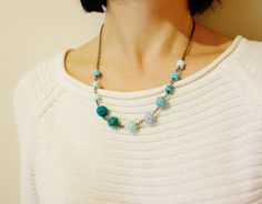 Mint Textile Necklace. Mint Turquoise Necklace. by NariDesignPot