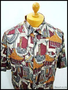 Vintage 1980s 80s Crazy Print Dadaism Disco Cosby Shirt Medium   eBay