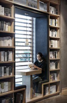 Public Library Design, Bookstore Design, Library Cafe, Deco Design, Cafe Design, House Design, Office Interior Design, Office Interiors, Corner Bookshelves