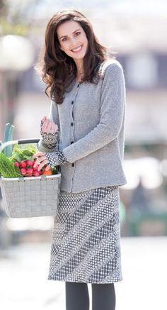 Naturkleidung - Jacke hellgrau in Babybouclé mit Rock in Green Cotton mit Alpaka, Größen S bis XL - Finesse Fashion ©