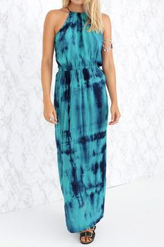 Print Spaghetti Strap Slit Maxi Dress