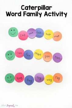 Kids will have great time learning word families with this fun caterpillar activity! A hands-on literacy activity for spring!