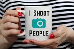I shoot people, photographer mug, camera coffee mug, gift for photographer, funny coffee mug, birthday, christmas, fathers day, gift for her by Platesplease on Etsy