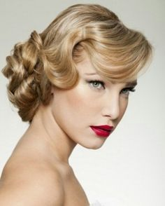 Soft finger wave and pin curls updo