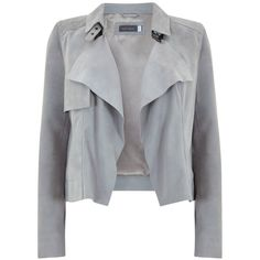 Mint Velvet Suede Biker Jacket, Dove Grey found on Polyvore featuring outerwear, jackets, gray jacket, grey jacket, collar jacket, buckle jackets and suede leather jacket