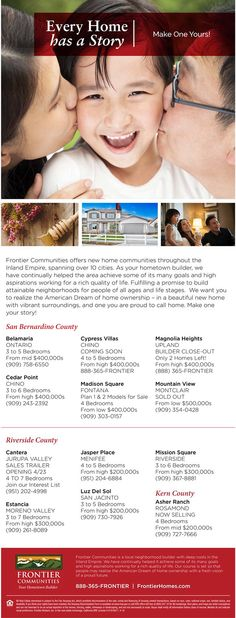 New Homes for Sale in the Inland Empire, California  Brokers Welcome at Frontier Communities  Bring your clients to see these affordably priced neighborhoods spanning over 10 cities in the Inland Empire!  http://www.fhcommunities.com/communities-floorplans/
