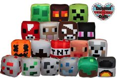 Minecraft style Block Plush Pillows by EnchantedEnigmaCraft, $20.00