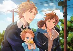 Hetalia - England with Young!America and Spain with Young!Romano❤