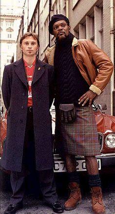 Robert Carlyle, actor from Maryhill near Glasgow & Samuel L Jackson rocking a kilt #robertcarlyle #scottishactor #scottish