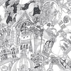 Lizzies Doodle Black/White Wallpaper - Black & White Wall Coverings by Graham & Brown | Graham & Brown