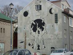 Wandmalerei in Reykjavik
