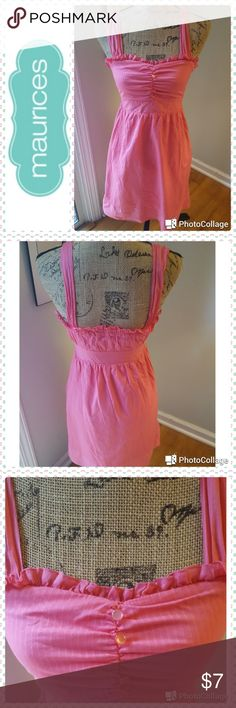 """🐒 Maurices In good condition.  Maurices dress. Salmon pink cotton sundress style.  Completely lined.  Puckered bodice adorned with 4 buttons. Side zipper , which has part of the end pull off ( see photo #4). Measurements are 35"""", bust 32"""". Maurices Dresses"""