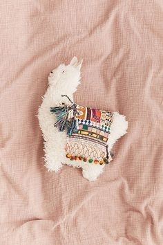 Furry Llama Pillow . Cute and cuddly pillow. Urban Outfiters.Alpaca bohemian stuffed animal. Cotton fabric. South America. Colorful pillow.