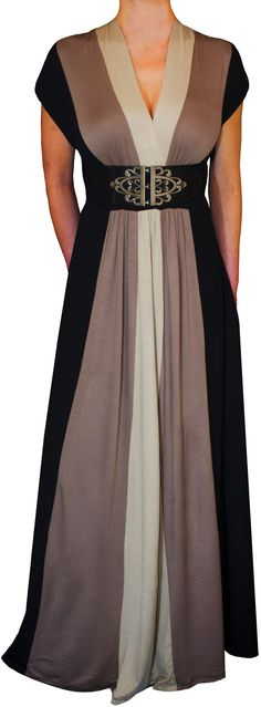 Funfash Plus Size Clothing Black Color Block Long Maxi Women's Plus Size Dress
