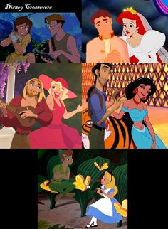 disney crossover couples - Google Search. I pinned this for Jane and Milo, Ariel and Jim, Tulio and Jasmine, and Peter Pan and Alice. :) <3