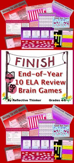 The End of Year ELA Review: Brain Games and Puzzles resource includes 10 fun, engaging, and challenging brain games or puzzles to review English/language arts content. The puzzles facilitate critical thinking skills as well as review the following skills: simile, metaphor, personification, theme, idioms, irony, mood, tone, novel, symbolism, all parts of speech, anagrams, setting, plot, protagonist, climax, resolution, transitions, spelling, and compound words.