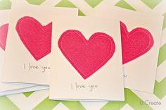 one piece of felt = simple Valentine card u-createcrafts.com