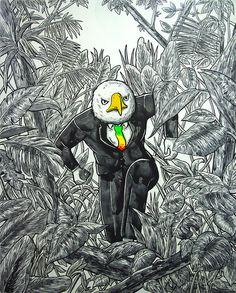 Modern Jungler V, 90.9X72.7Cm, mixed media on canvas, 2015 #art #popart #pop #birdkim #painting #artist