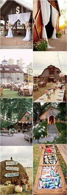 rustic outdoor wedding ideas- country barn wedding decor ideas / http://www.deerpearlflowers.com/35-totally-ingenious-rustic-outdoor-barn-wedding-ideas/