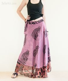 Reversible Wrap Around Layered Paisley Gypsy Skirt Burning Man Outfits, Hippie Skirts, Gypsy Skirt, Wrap Around, Handmade Clothes, Boho Chic, Paisley, Unique, Fashion